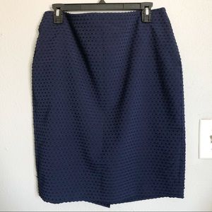 Banana Republic Textured Navy Skirt